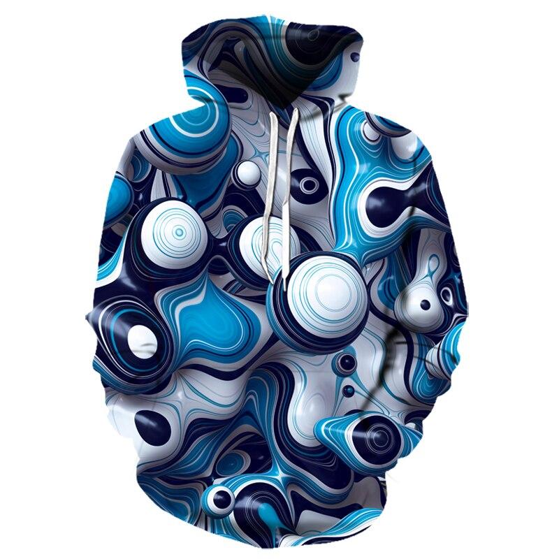 explosion models new geometric 3D printing hoodie casual long-sleeved Sweatshirt hoodie male street shot steel ball hoodie