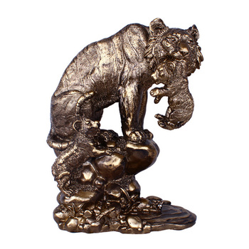 European Retro Bronze Mom & Son Tiger Sculpture Creative Figurines Display Decor Props Ornament Home Decoration Living Room Gift