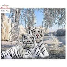 Diamante Bordado Tigre Branco Cheio de Diamante Quadrado Diamante Pintura Ponto Cruz Diamante Mosaico Resina Diamante