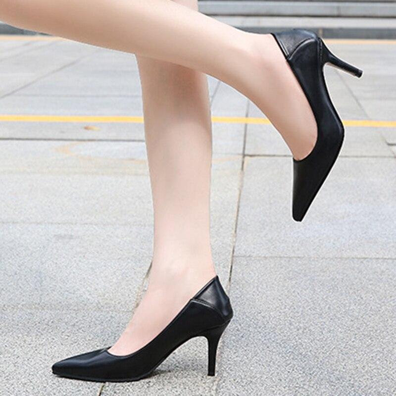 Ежедневная 7,5 см обувь на высоком каблуке женские туфли-лодочки больших размеров; Большие размеры 35-43, 44, 45, 46, женские брендовые туфли-лодочк...
