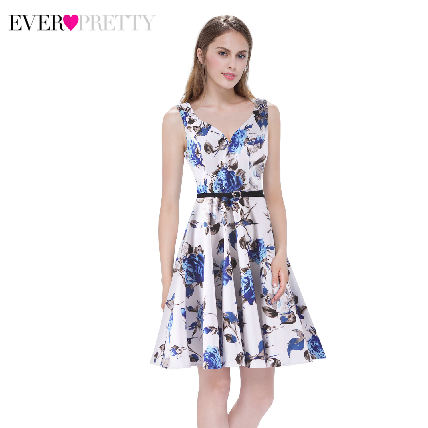 Homecoming Dresses Ever Pretty Floral Print Sleeveless Formal Dresses AS05531 Summer Beach Party Dresses Mezuniyet Elbiseleri