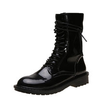 Spring Martin Boots Women Autumn Casual British Mid Tube Black Thick Heel Non Slip Flat Long Motorcycle Boots Ladies(China)