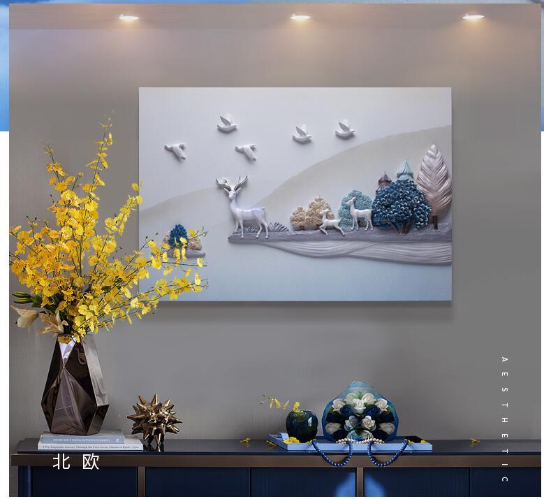 Moderne Reliëf 3D Hars Vogel Herten Landschap Muursticker Muurschildering Decoratie Ambachten Thuis Kamer Muur TV Achtergrond Schilderij Ornament - 2
