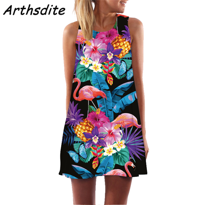 Arthsdite 2019 Women Summer Sexy Bohemian Sleeveless O Neck Beach Dresses Casual Party Feather Print Loose Colorful Mini Dress in Dresses from Women 39 s Clothing