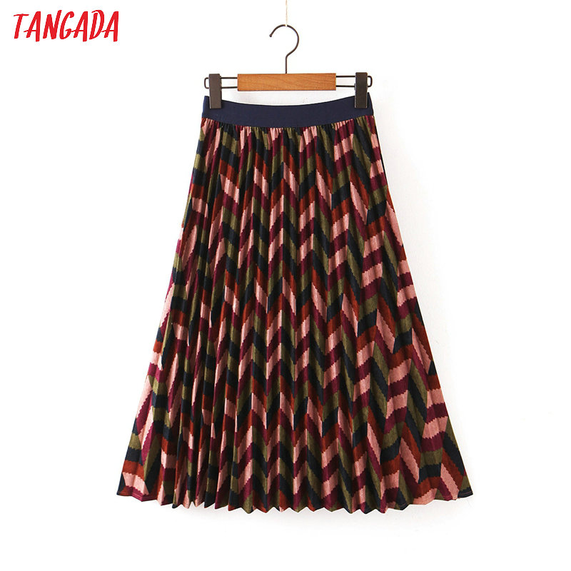 Tangada Women Corduroy Pleated Midi Skirt Faldas Mujer Vintage Strethy Waist Office Ladies Elegant Chic Mid Calf Skirts QB77