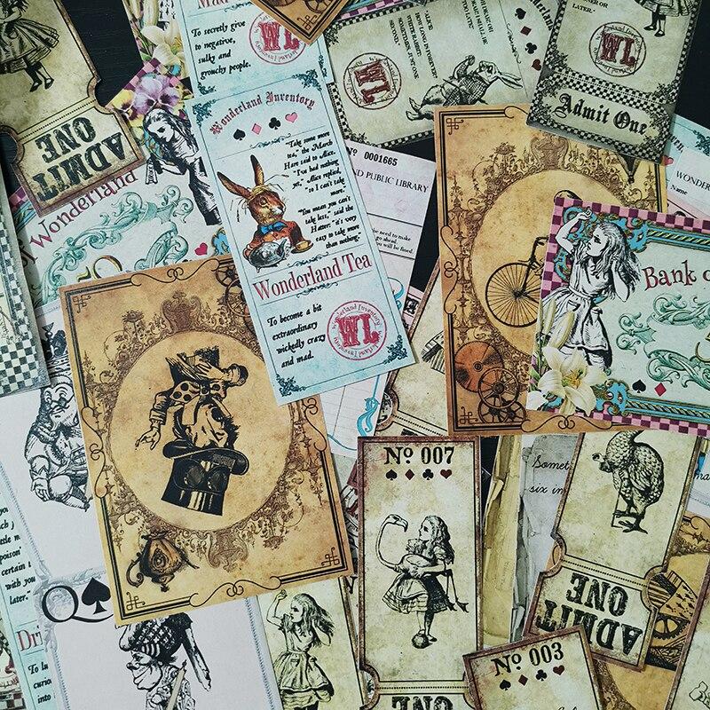 40 teile/beutel junk journal Vintage Alice Bunny Thema Aufkleber Pack DIY Sammelalbum Album Tagebuch Glücklich Plan Dekoration Große Größe Aufkleber