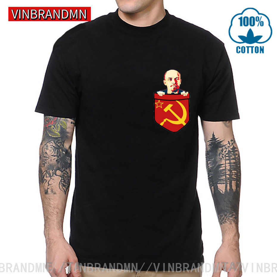 Vladimir Lenin Communism Chest Pocket T-Shirt Soviet Union Political Philosophy Of Marxism Marxmen Karl Marx Fidel Castro Tshirt