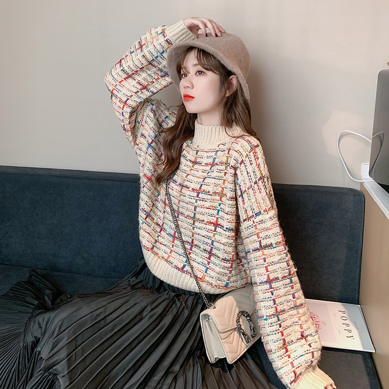 2019 Autumn Winter Women's Sweaters Hal-Turtleneck Plaid Pullover Fashionable Korean Style Knitted Casual Jumper