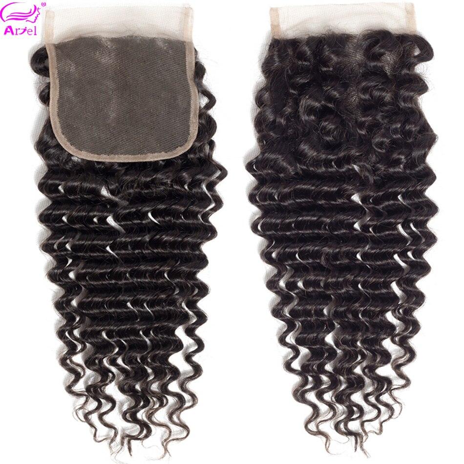 Ariel Lace Closure Human-Hair Deep-Wave 20inch Swiss Non-Remy 4x4