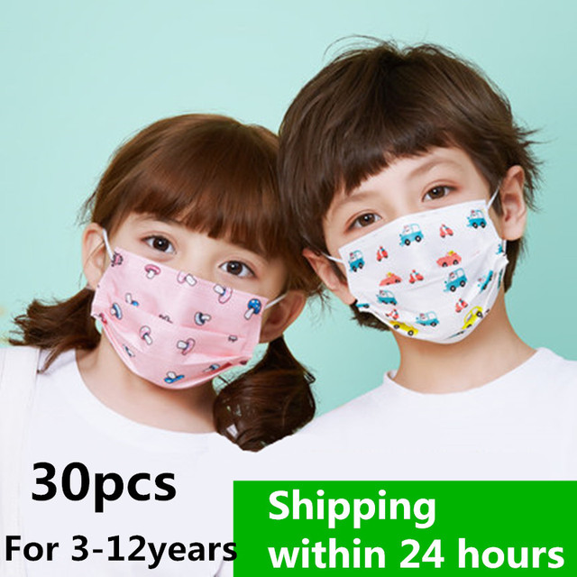 30Pcs Child Kids Disposable Face Masks 3 Layer Anti-Dust Pollution Masks Fabric Non Wovens Dustproof Cartoon Dog Cat Car Mask 1