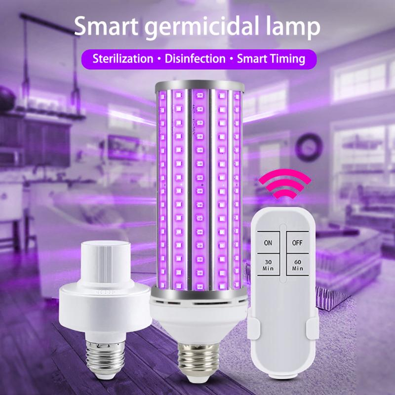 New E27 UV Desinfection Corn Light Bulb 60W Led Ultraviolet Sterilizer Home Germicidal Clean Lamp+Lamp Holder+remote Control