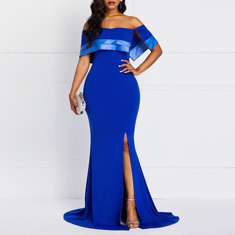 Blue Evening Dresses Sexy Elegant Casual Off Shoulder Strapless Solid Split Ruffles Backless Mermaid Evening Dress