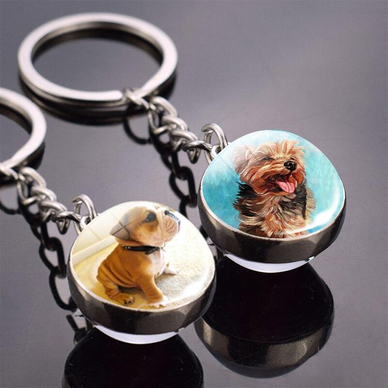 Cute Animals Key Chain Dog King Ring Double Side Glass Ball Keychain French Bulldog Labrador Pendant Dog Keyring