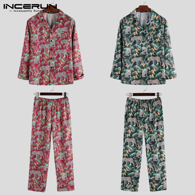 Home Clothes Men Chic Print Long Sleeve Pajamas Sets Fashion Comfort Couple Baggy Sleepwear Suit Soft Loungewear Outfits INCERUN