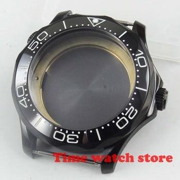 Polished 41mm PVD black stainless steel sapphire glass fit ETA 2836 Miyota 82 DG3804 luminous ceramic bezel watch case C550
