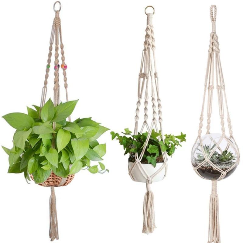 Hanging Basket Macrame Plant Hanger Flower Pot Holder Jute Rope Braided Craft