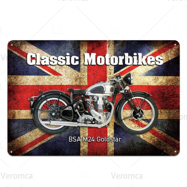 Route 66 MOTORCYCLE Red Retro Tin Plate 4