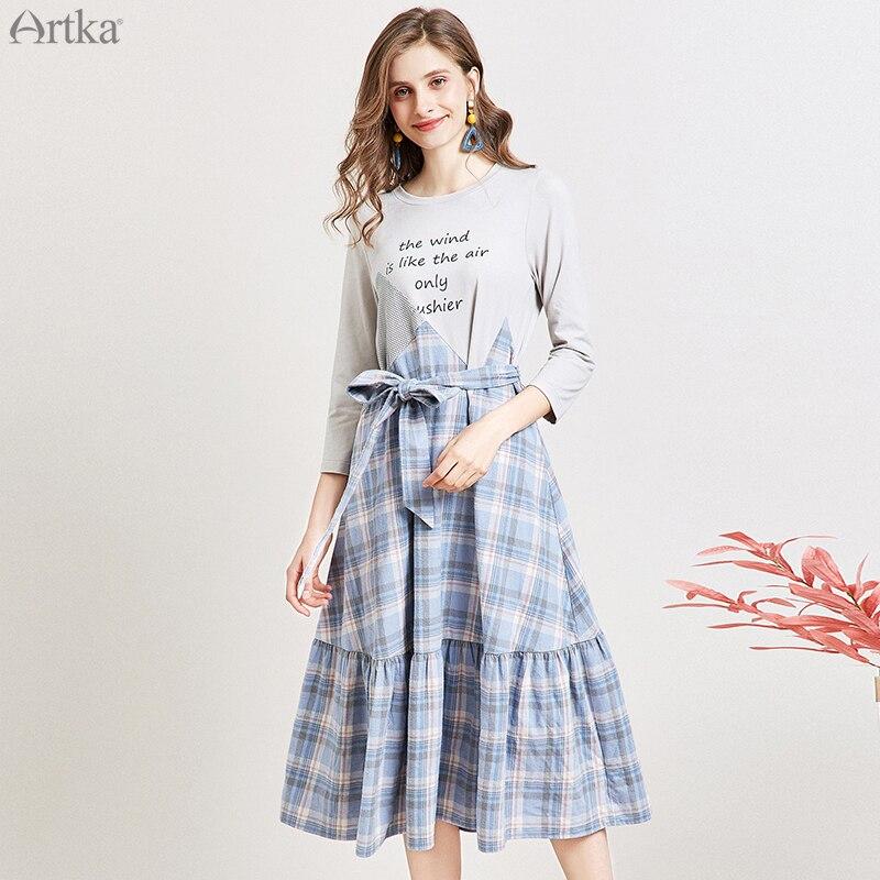 ARTKA 2019 Autumn New Women Dresses Irregular Plaid Stitching Dress With Belt Ruffled Casual Letter Print Dress Women LA15394Q
