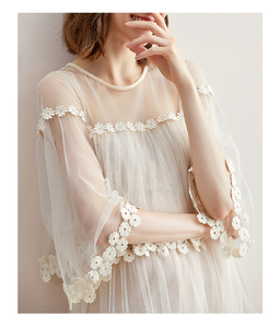 Image 3 - Flare kol kanca çiçek gevşek orta uzunlukta etek mizaç ekleme mesh kek etek elbise