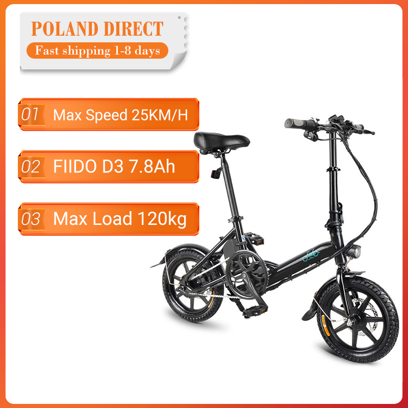[EU Direct] FIIDO D3 7.8Ah 36V 250W Electric Bicycle 14 Inches Folding Moped Bicycle 25km/h Max 50KM Mileage Mini Electric Bike