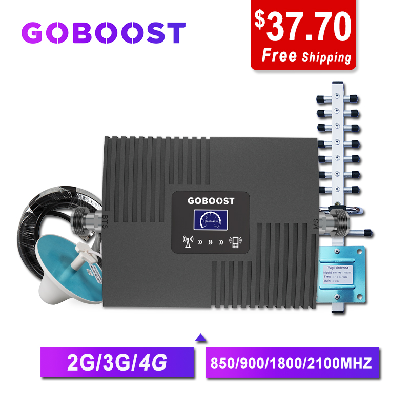 GOBOOST GSM Repeater 2G 3G 4G Cellular Signal Amplifier 4G Cellular Amplifier GSM 900 1800 2100 Mobile Signal Booster Repeater