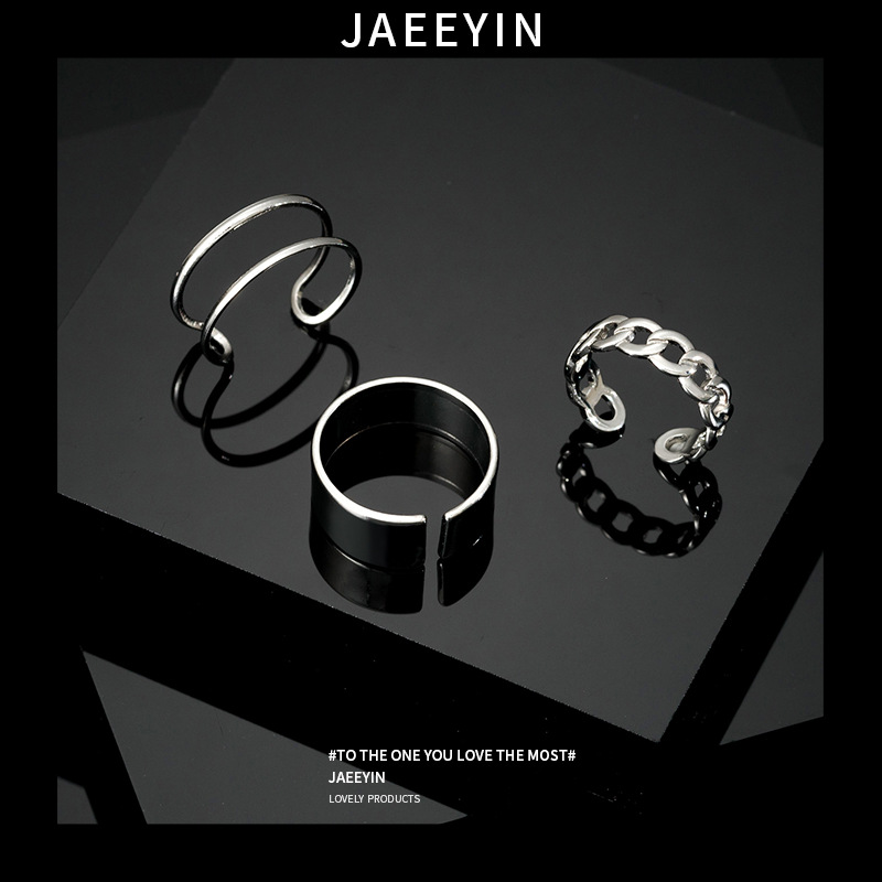 Rock/Hiphop Metal Punk Circular Geometry Rings Set Opening Index Finger Accessories Buckle Joint Tail Ring for Women Jewelry