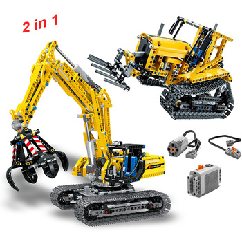 720pcs 2 in 1 Engineering Excavator Forklift Model Building Blocks Compatible Technic Blocks City Brick Toys For Children Gifts lepin 20025 760pcs technic the red engineering excavator set building blocks bricks model toys christmas gifts compatible 8294