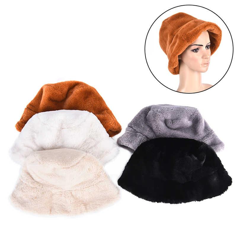 Зимняя шапка-ведро из искусственного меха для женщин и девушек, модная однотонная утолщенная мягкая теплая шапка для рыбалки, шапка для отдыха на открытом воздухе, женская панама