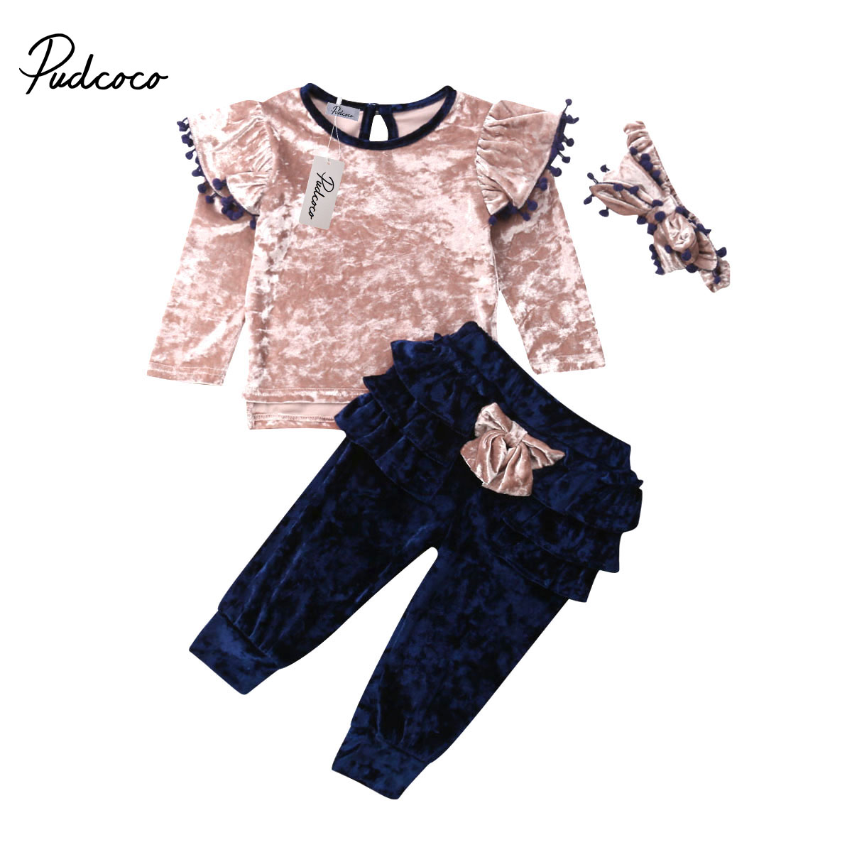 2pc Newborn Toddler Baby Girls Boys Bowknot Bow Tops Pants Outfits Set Clothes