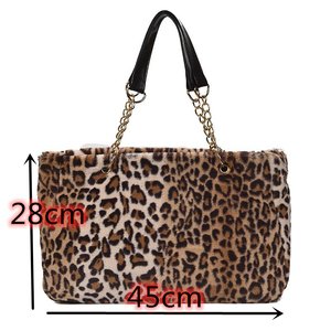 Image 5 - Faux fur large capacity leopard crossbody bag womens 2019 winter plush shoulder Messenger bag ladies warm handbag girl Christma