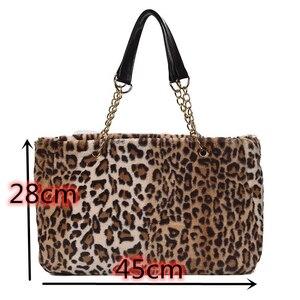 Image 5 - Pele do falso grande capacidade leopardo crossbody saco das mulheres 2019 inverno de pelúcia ombro saco mensageiro senhoras quente bolsa menina christma