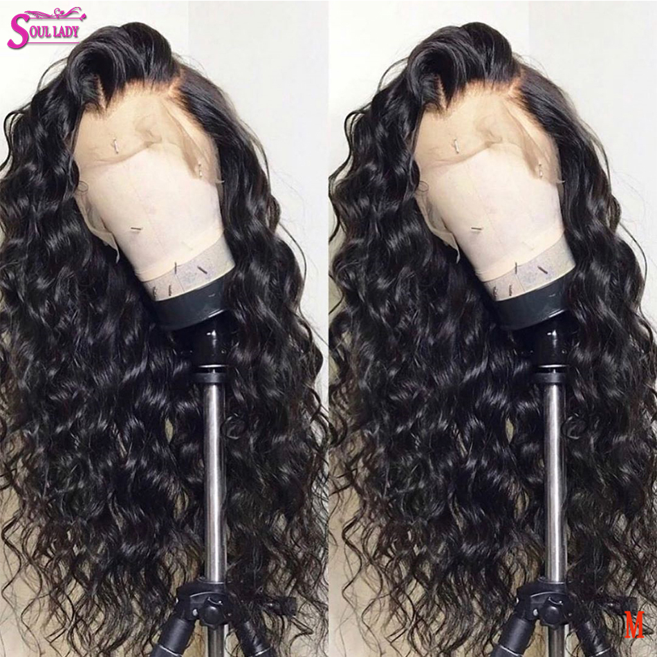 Soul Lady 13x4 Transparent Lace Deep Wave Glueless Wig Brazilian Remy Hair13x4 13x6 360 Brown Lace Front Wig With Baby Hair 150%