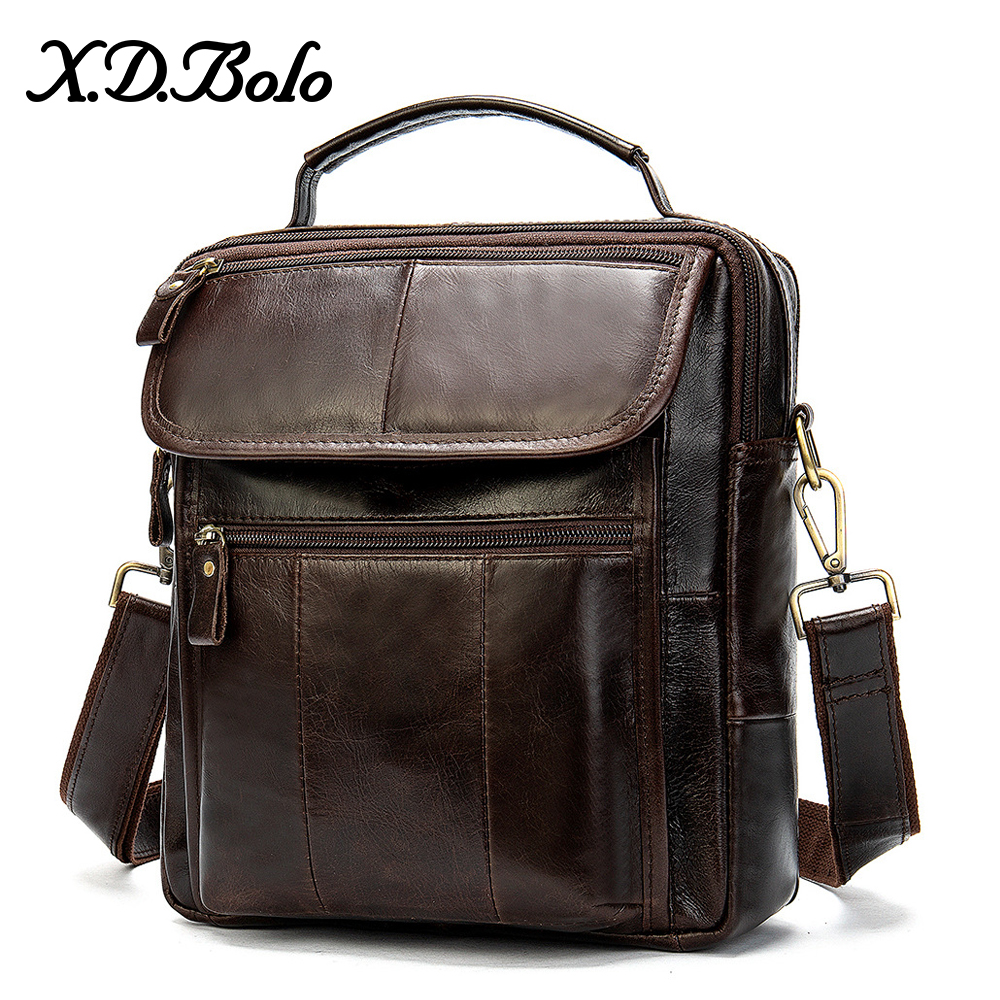 X.D.BOLO 2019 Men's Shoulder Bag Leather Messenger Bag Men Zipper Man Bag High Capacity Cross Body Bags For Mens Bags Wholesale