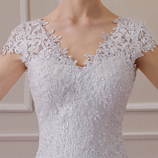 2019 New Illusion Vestido De Noiva White Backless Lace Mermaid Wedding Dress Cap Sleeve Wedding Gown Bride Dress 5