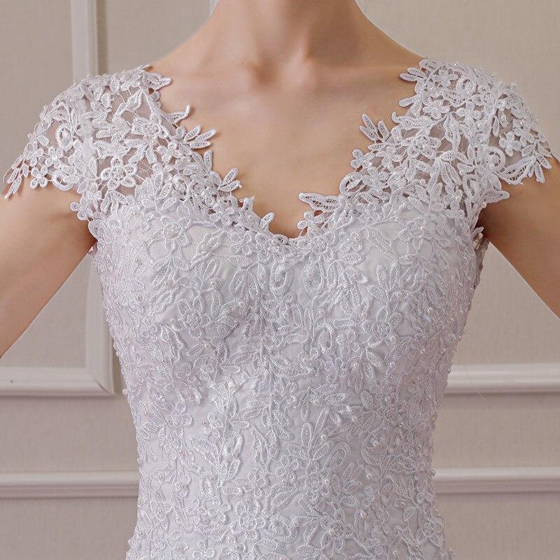 2019 nouvelle Illusion Vestido De Noiva blanc dos nu dentelle sirène robe De mariée Cap manches robe De mariée robe - 5