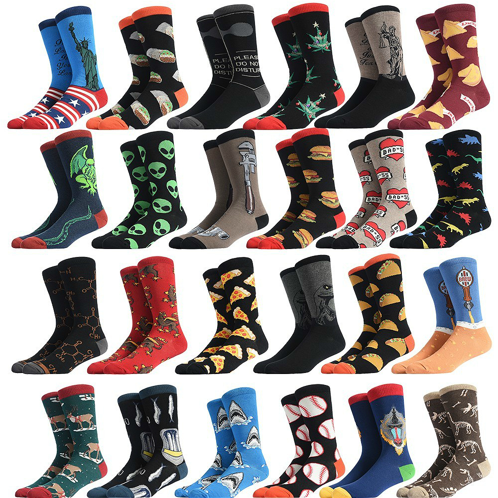 PEONFLY New 2020 Spring Funny Delicious Food Printed Men Socks Colorful Snacks Hamburger Pizza Happy Socks Skate Cotton Sokken