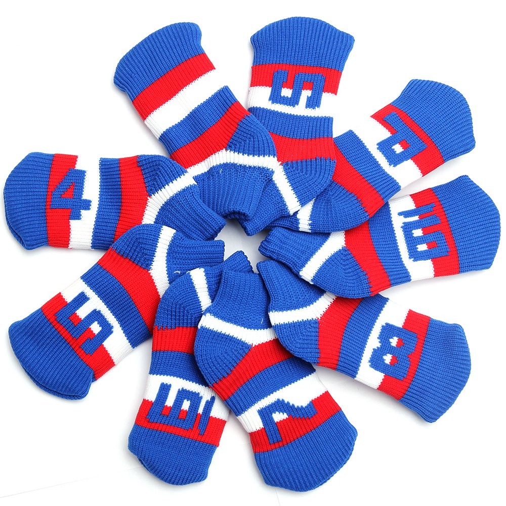 Knit Golf Iron Head Covers Set 9-Piece-Head Covers With Numbers On Top&Side