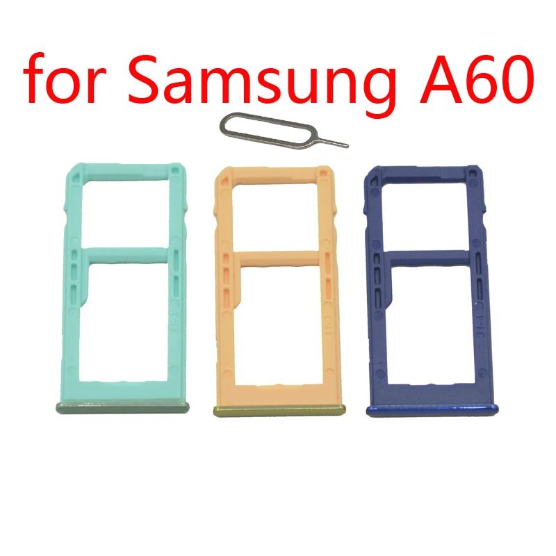 Phone SIM Card Tray Slot For Samsung Galaxy A60 A6060 Original Cellphone Micro SD Card Adapter Holder Accessories