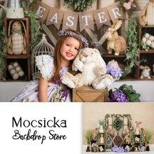 خلفية تصوير الربيع لعيد الفصح للأطفال حديثي الولادة ، صورة أرنب لأعياد الميلاد ، صورة باب خشبي