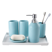 Розовый синий Керамика Аксессуары для ванной комнаты Набор 5 шт, 6 шт./компл. Чистка чашки комплект Ванная комната поставки Зубная щётка чашки меламин лоток