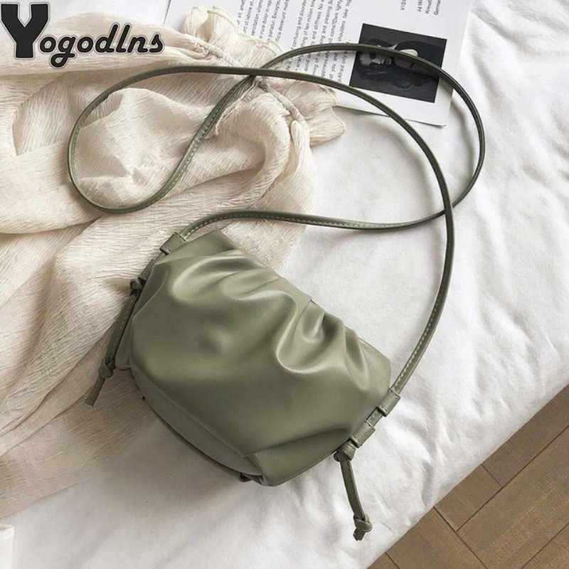 Bolso cruzado de lujo a la moda para mujer, diseño de nube, bandoleras de piel sintética suave, Mini bolso de mano para mujer
