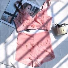 Wriufred 조정 가능한 푸시 업 얇은 스폰지 프리 림 속옷 브래지어 여성 BCD 대형 브래지어와 팬티 세트 자수 레이스 bralett