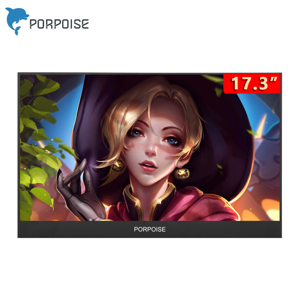 "PORPOISE 17.3"" LCD Portable Monitor Hdmi gaming monitor ips 1080p HD display for PS4 Laptop Phone Xbox Switch Pc with Case image"