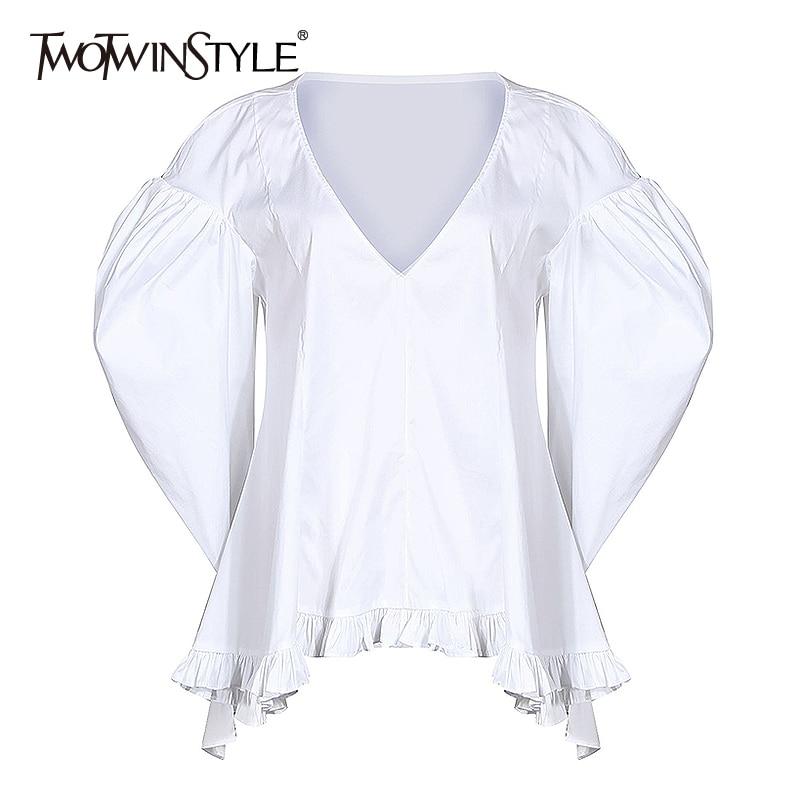 TWOTWINSTYLE Vintage Women Blouse V Neck Puff Long Sleeve Tunic Irregular Ruffles Hem Shirts Female Fashion 2020 Spring Clothing