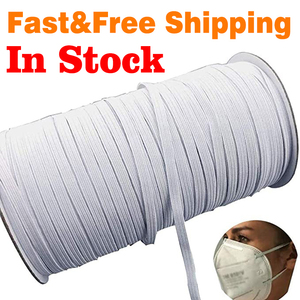 White 70/100/160 Yards Elastic Band Sewing 3/6mm Elastic Cord Rope Sewing Crafts DIY Mask Bedspread Cuff(China)