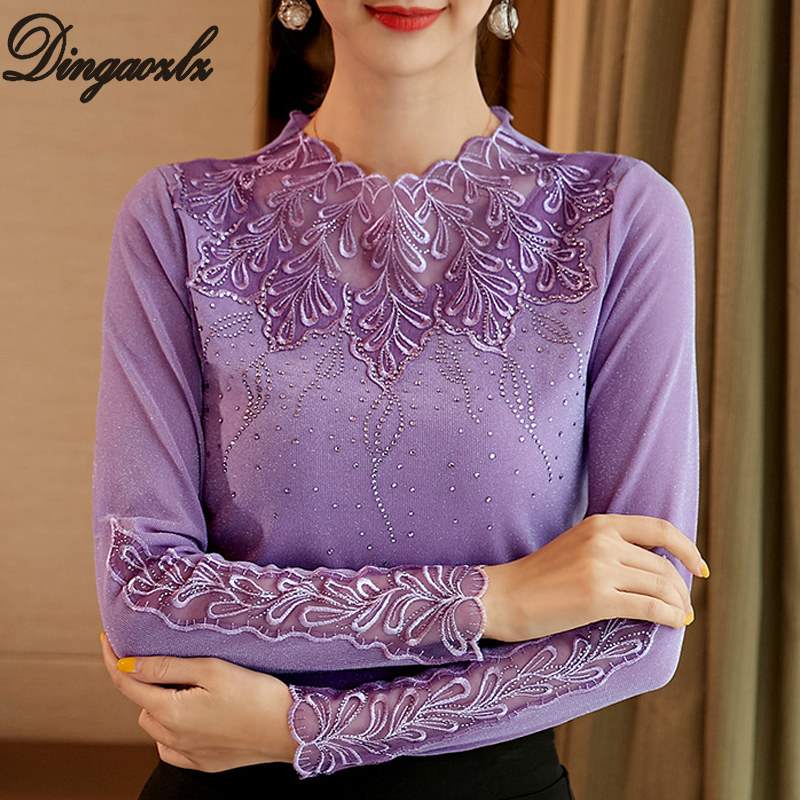 Dingaozlz M-4XL Autumn Clothes New 2019 Plus Size Women T Shirt Slim Long-sleeved Lace Tops Patchwork Lady Shirt