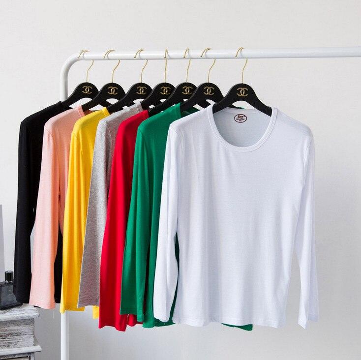 Футболка из модала и хлопка с длинным рукавом, женская футболка с o образным вырезом, 2020, весенне осенняя футболка большого размера 3, 4, 5, 6XL, женские топы, пуловеры|basic t-shirt|middle aget-shirt basic | АлиЭкспресс