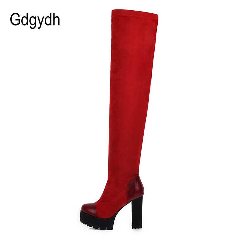 Gdgydh Mode Vrouwelijke Winter Dij Hoge Laarzen Suede Hoge Hakken Flock Over De Knie Laarzen Voor Vrouwen Zwart Rood Lange laarzen Elatic