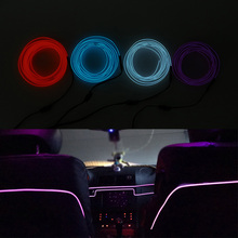 Tira de luces LED de neón para decoración Interior de coche, tira de luces LED de 2M para decoración de automóvil, cable de cuerda Flexible, 12V, USB