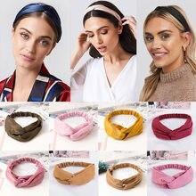 38 cores cruz topo nó bandana para mulheres menina bandas de cabelo sólido elástico torção headbands moda cruz acessórios para o cabelo turbante